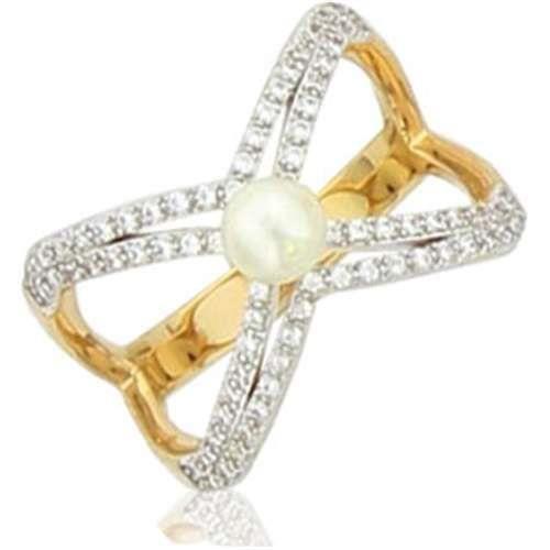 SF Bijoux - Bague plaqué or OZ perle dimitation - (601937)