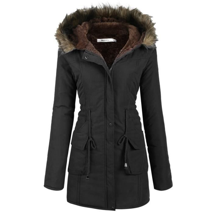 manteau femme doubl parka chaud hiver manteau capuche noir achat vente manteau caban. Black Bedroom Furniture Sets. Home Design Ideas