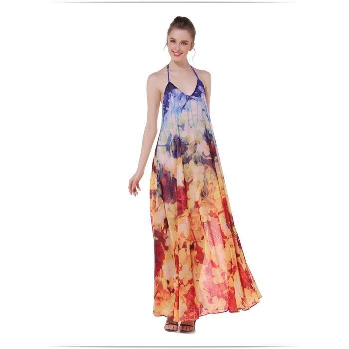 Robe cou Halter en mousseline de soie robe de plage