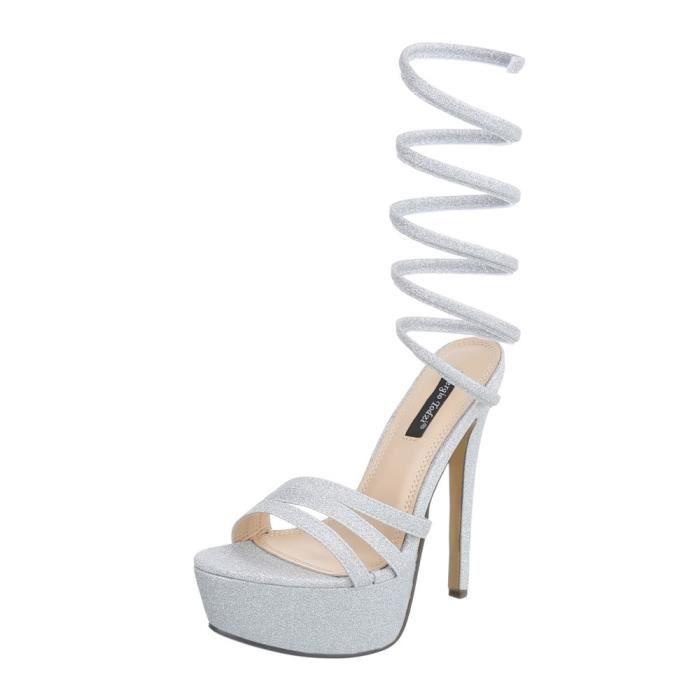 071b55b6581 Chaussures femme sandale à talons hauts Plateau High Heels argent 41 ...
