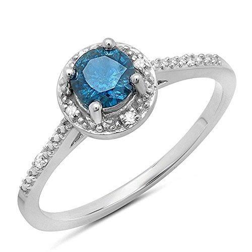 Bague Femme Diamants 0.50 ct10 ct 471-1000 Or Blanc Rond Bleu Diamants 1-2 ct 5uLkRF539f