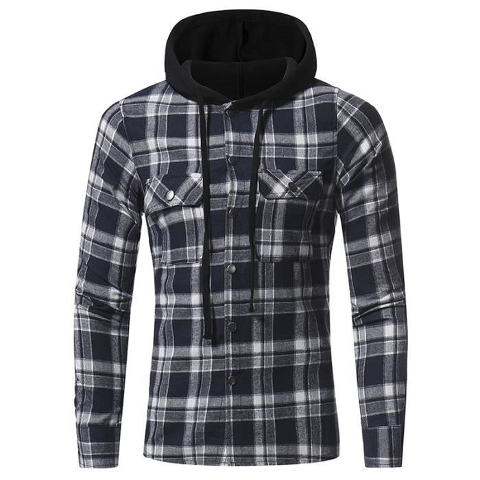 choisir l'original dernier style style moderne Chemise homme à carreaux avec capuche chaud épaisse manches longues SIMPLE  FLAVOR