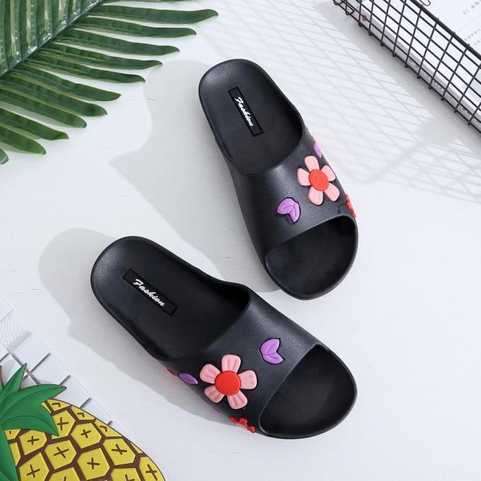 deuxsuns®Chaussures Appartements Beach Slipper Caoutchouc Sabots Style Fleur Pantoufles Femmes Été RHL0Z2