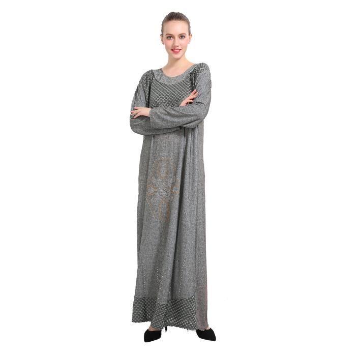 Robe de femmes Kaftan O manches longues Cou Imprimer Taille Plus Maxi Robe longue Arabique 10661382