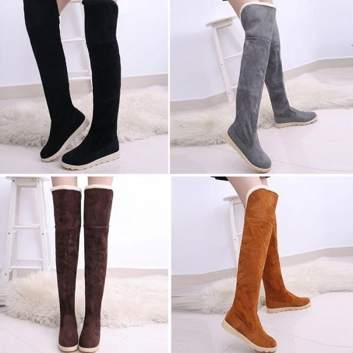 Bottes mode femme Soins de la peau d'hiver Plat Jambes Bottes Chaussures sexy,marron,8