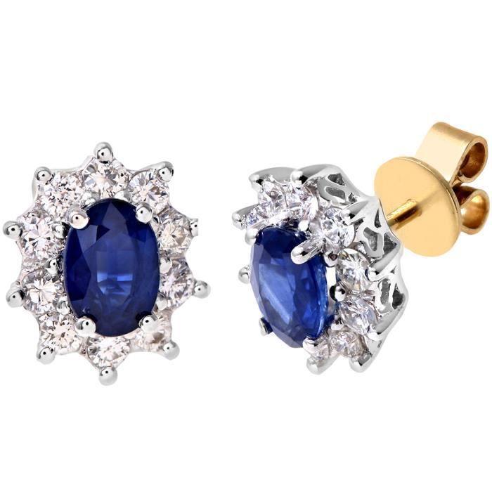 Revoni - Boucles d'oreilles boutons en or jaune 18 carats, saphirs et pavage diamants - REVCDPE03899YSA