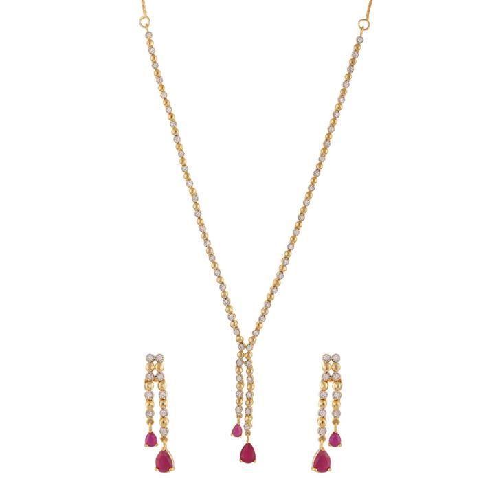 American Diamond Women Cz Zircon Fashion bijoux boucles doreilles collier pourHE0U4