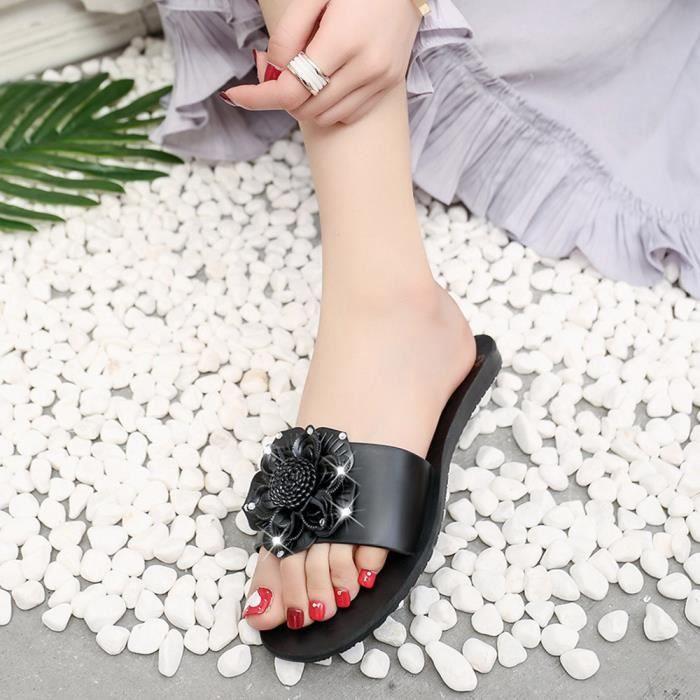 Été fleur douce femmes tongs plats bohème sandales plage pantoufles@hyu-640
