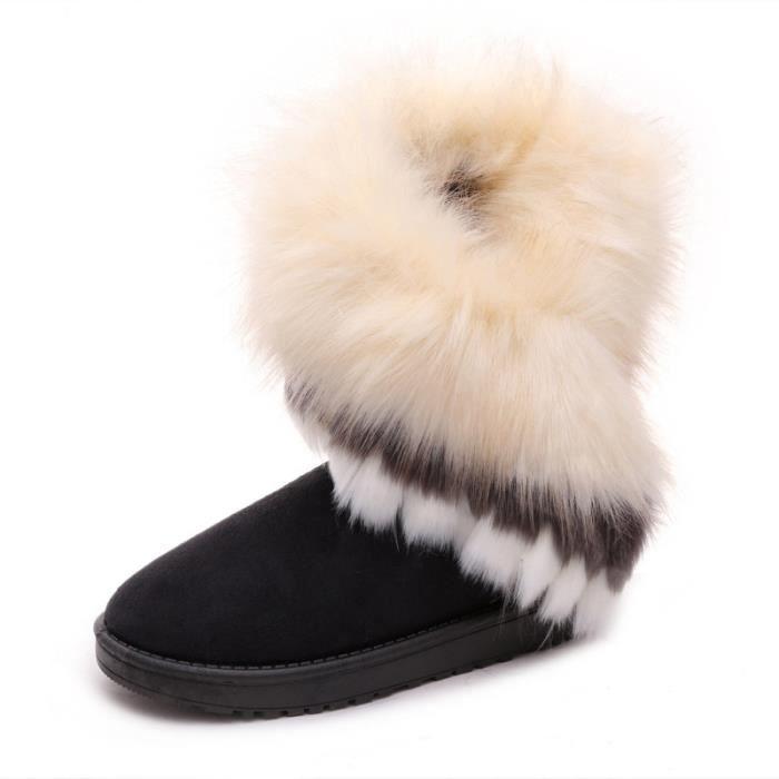 mode renard naturel vache fourrure cuir fendu dame bottes haute neige pour les femmes bottes d'hiver flats chaussures lapin pompons Q8Kz6yJ2