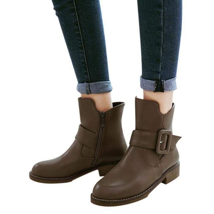 En Cuir Toe Femmes Shoes Short Cheville Bottes yunsoel2719 Rtro Mode Ronde Solide Martin Chaud q1x1URn