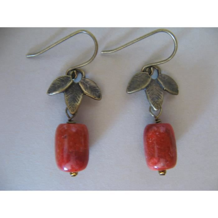 Femmes Rouge Corail Éponge Métaux mixtes Boucles doreilles Bronze ZMXJO