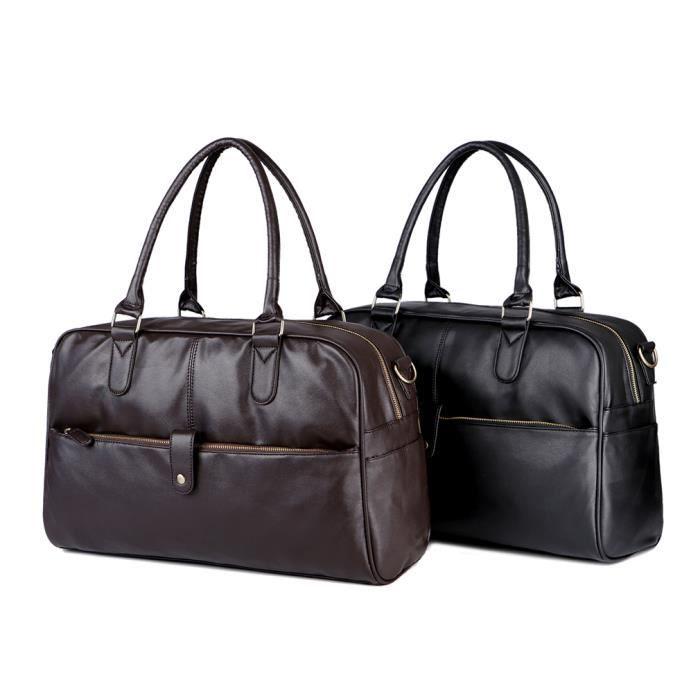 sac à mainHommes Voyager Homme Qualité Duffle grande capacité Bagages Sac Noir Marron -2453