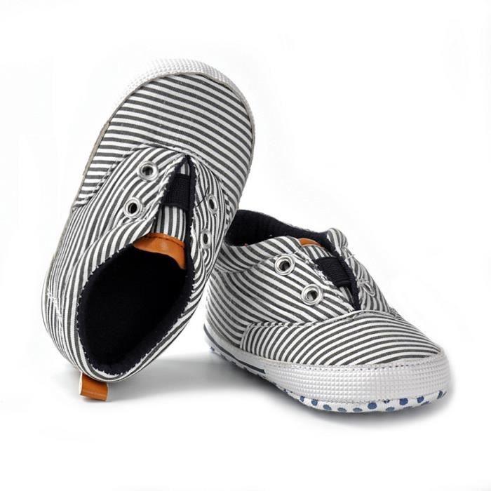 BOTTE Nouveau-né filles garçons crèche douce anti-dérapant bébé rayé Sneakers chaussures en toile@NoirHM