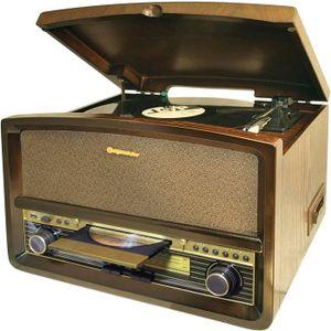 ROADSTAR HIF-1937TUMPK Chaine HiFi Vintage avec Platine Disque, Lecteur CD/MP3/Cassette et USB - Encodage depuis CD/Platine/Cassette
