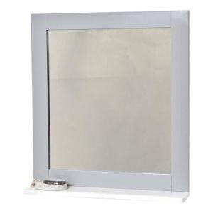 Miroir salle de bain avec tablette bois - Achat / Vente pas cher