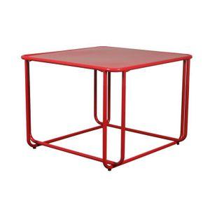 Basse Carrée Vente Métal Achat Rouge Table UVGpLqMSz