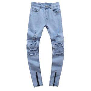 JEANS Jeans pour Hommes Jeans Pantalons Slim Déchiré Plu