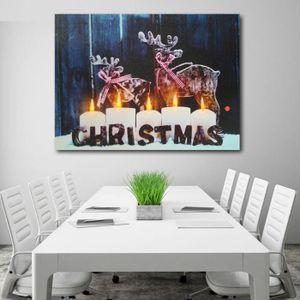 TABLEAU - TOILE TEMPSA LED Noël Fête Tableau Peinture Huile Mural