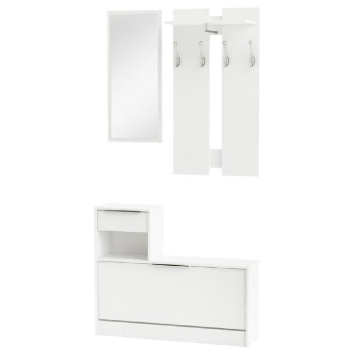 clothhanger vestiaire d 39 entr e contemporain blanc perle l 98 cm achat vente meuble d. Black Bedroom Furniture Sets. Home Design Ideas