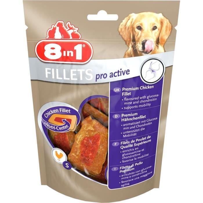 8in1 Filets De Poulet Séchés Pro Active Enrichis En Chondroïtine Et La Glucosamine - Taille S Pour Chien Carton 8 Sachets