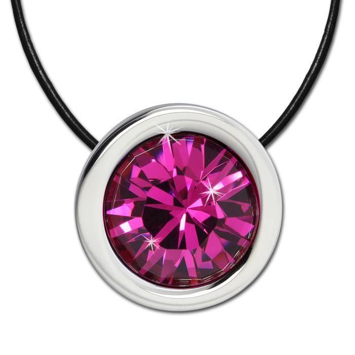 Amello Set en acier inoxydable avec Cristaux Swarovski Elements fuchsia - Lensemble comprend pendentif et collier en cuir