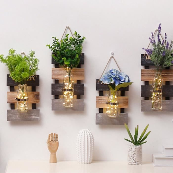 Tentures Murales En Bois Avec Vase En Verre Style De Pays Décoration