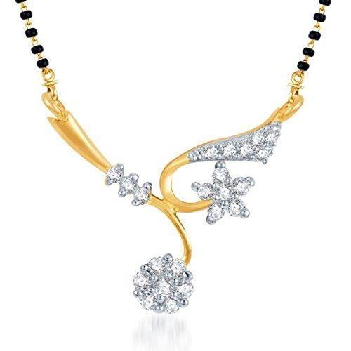 Womens Elegant Wedding Cz Gold And Rhodium Plated galsutra Pendant ForAEGDD