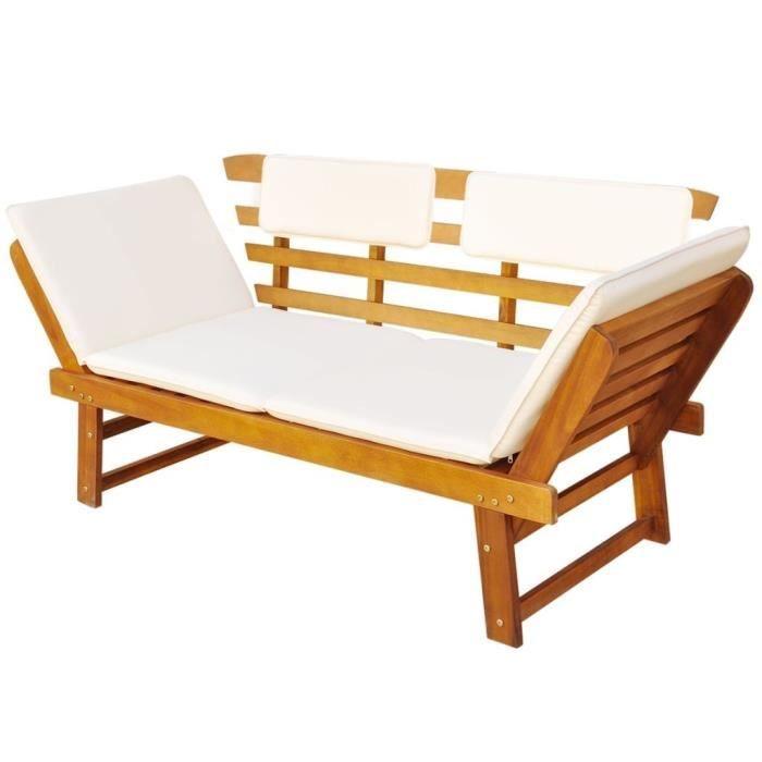 bancs d 39 exterieur lit de bronzage banc de jardin bois d 39 acacia massif 190 x 66 x 75 cm achat. Black Bedroom Furniture Sets. Home Design Ideas
