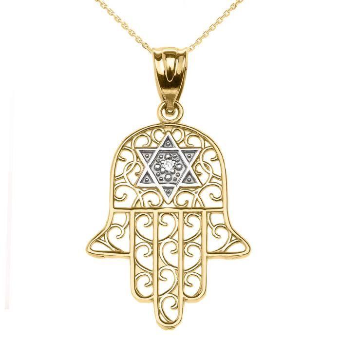 Collier Femme Pendentif 10 Ct Or Jaune Hamsa Hand avec Étoile De David (Livré avec une 45cm Chaîne)