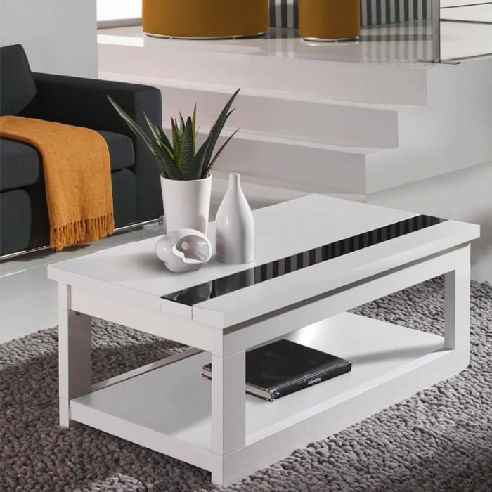 table basse relevable blanche - upti - taille : l 110 x l 60 x h
