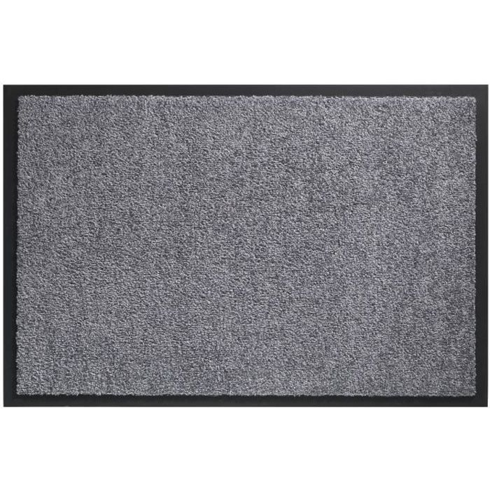Tapis D Entree Twister Gris 60x90cm Support Vinyl Antiderapant