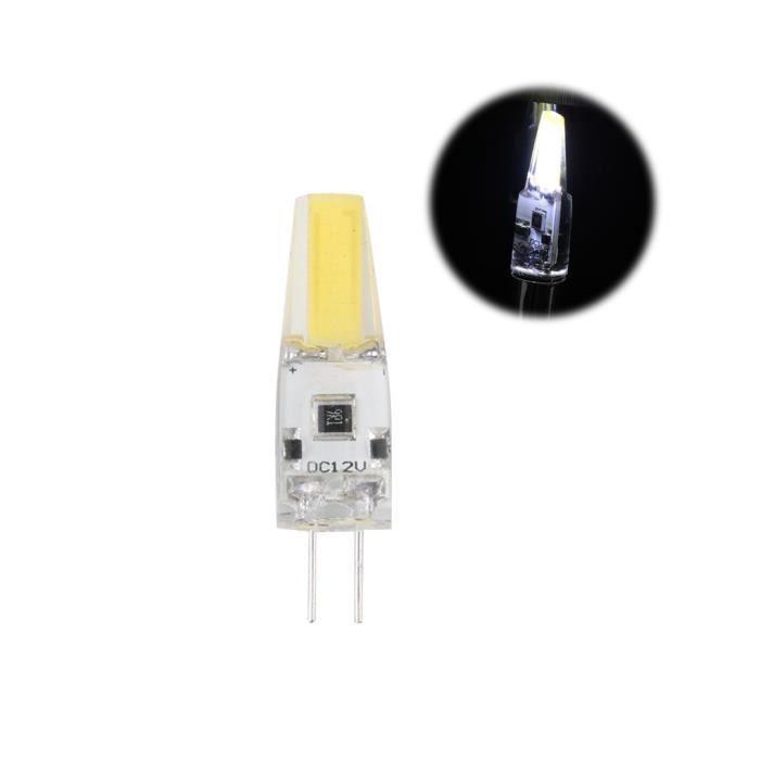 G4 1505 2W DC 12V COB LED Ampoules en silicone non programmables Lampe halogène Blanc chaud