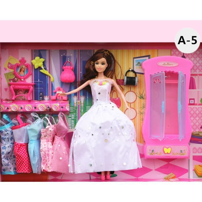 poup es barbie barbie jouets fille jouets maison de jeu princesse fille r ve cadeau no l robes. Black Bedroom Furniture Sets. Home Design Ideas