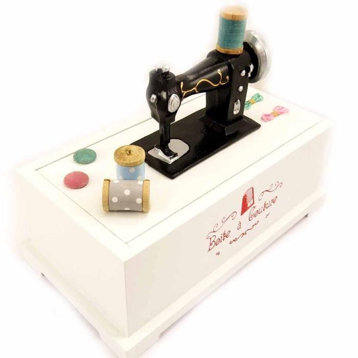Bo te couture machine coudre blanc achat vente for Boite a couture sur pied