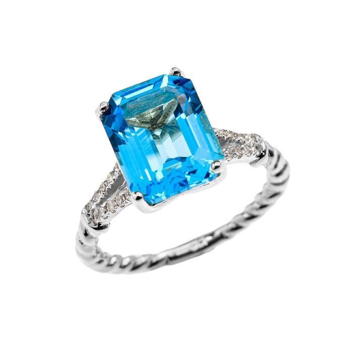 Bague Femme 10 Ct Or Blanc Emeraude Coupe Bleu Topaze Et Diamant Solitaire Conception De Corde