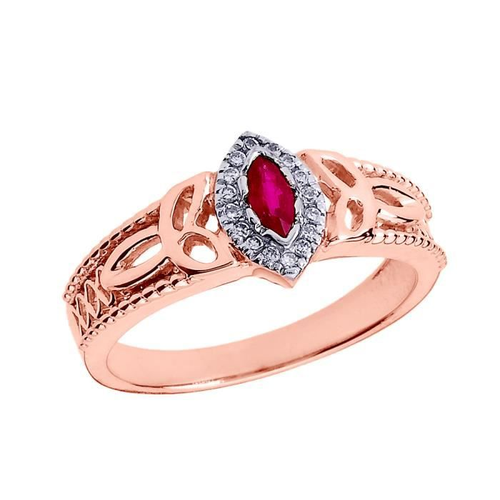 Bague Femme 14 Ct Or Rose Rubis Et Diamant Trinité Nœud