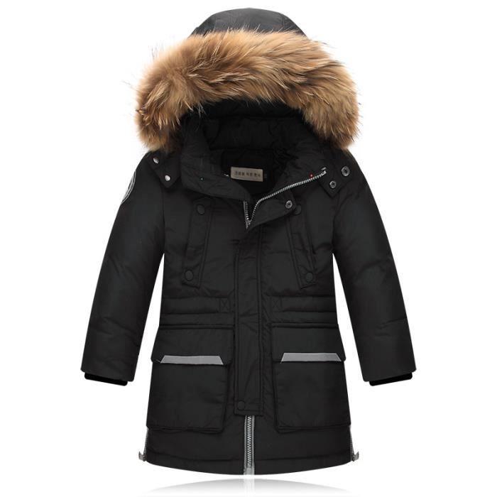 parka enfant gar on capuche fourrure manteau bl noir. Black Bedroom Furniture Sets. Home Design Ideas
