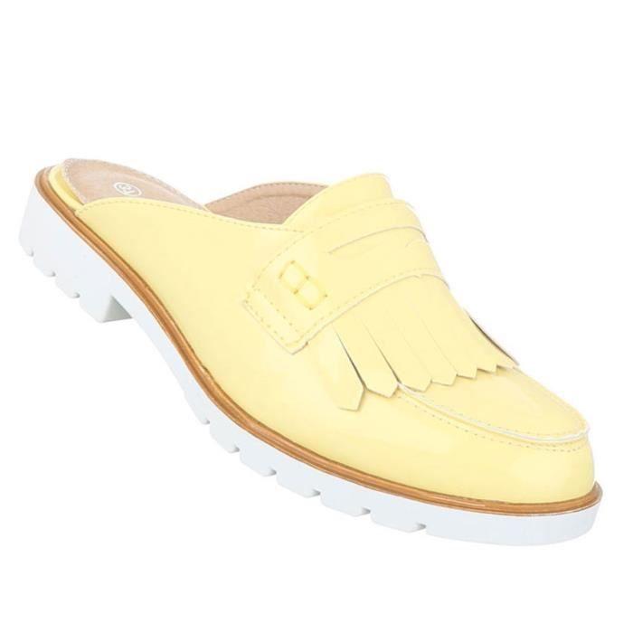 Femme sandales chaussures chaussures de plage chaussures d'été Pantoletten Slipper jaune 41