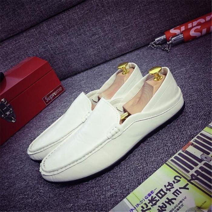 Moccasin Homme en cuir Nouvelle Mode marque de luxe Haut qualité Respirant Poids Léger Loafer chaussures Grande Taille 39-44 OrUhL