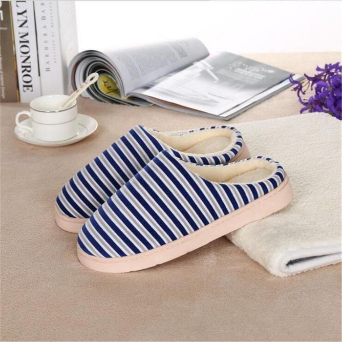 Chausson Rayures Bande Hiver Chaussons Garde Au Chaud Coton Chaussure Simple Plus De Cachemire Couleur Beau Bleu Marron b08Mq8