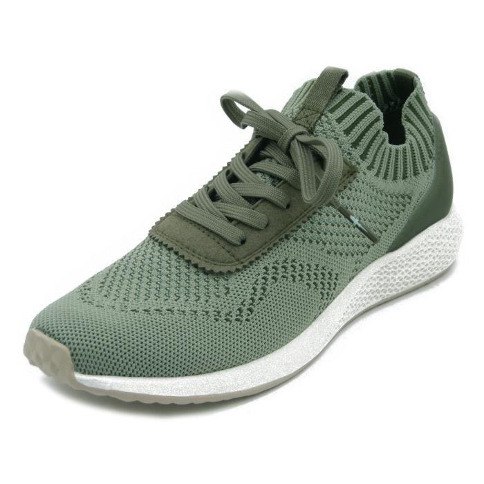 TAMARIS, sneaker femme, tissu stretch vert olive, semelle intérieure amovible, 23714V
