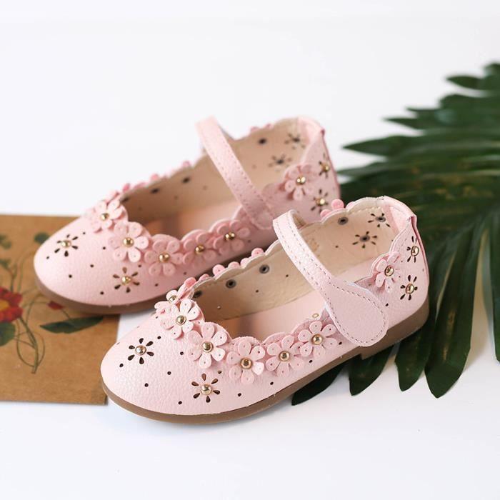 Enfants Petites Chaussures en cuir fleuries pour Filles Chaussures de princesse ajourées Chaussures de danse Chaussures de