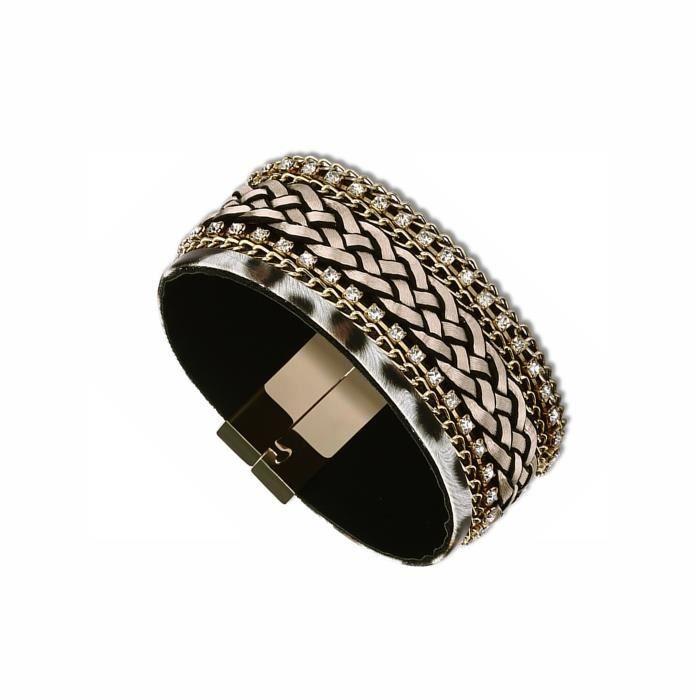 Bracelet Femme - Bijou Fantaisie Métal Doré - Cubic Zirconium (Cz) *** Multicolore,