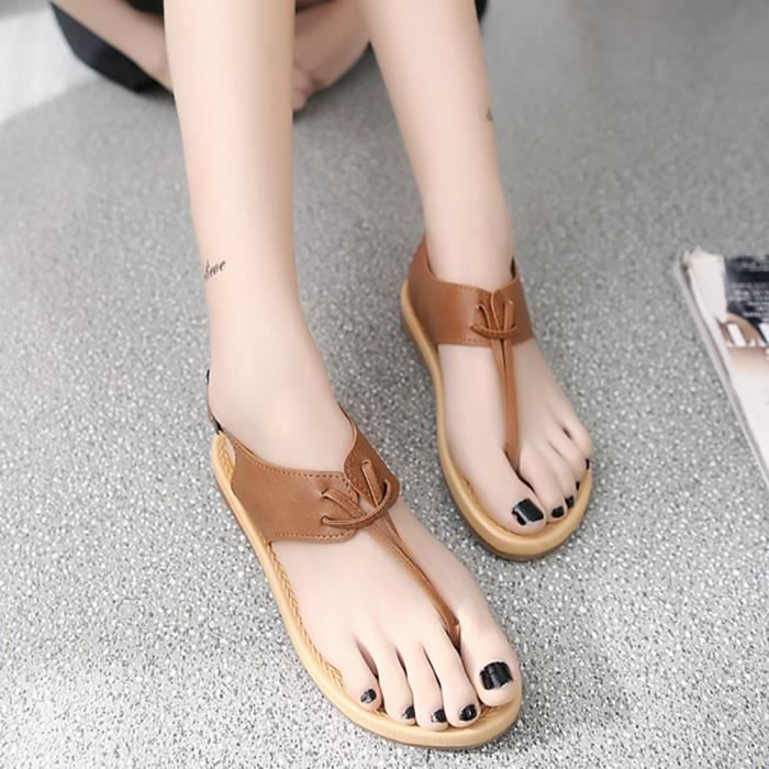 Flip Plates Femmes bottomed Flop Marron Romaines Flat Zss80322425bw Anti Pinch Sandales drapant 0qHxaw