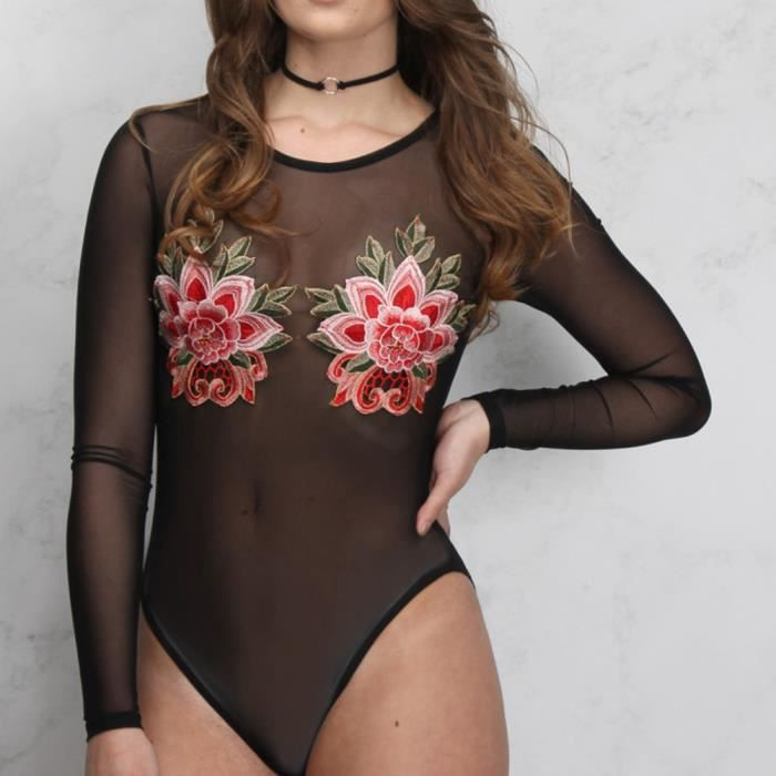 Mesh Noir Leotard Top Body Floral Lingerie Femmes Sheer COwqCt