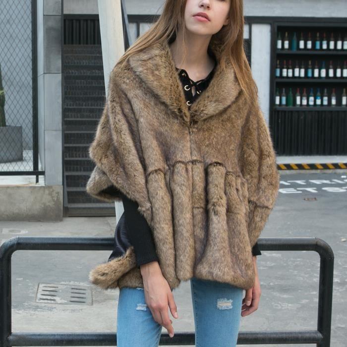 Femmes Fausse kaki Manteau Batwing Fourrure En Tops Outwear Dames Poncho Cape dxPwq6d7