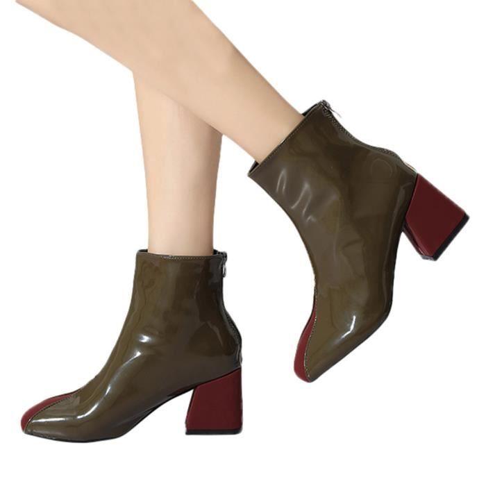Martin Épais Talon Des yunsoel1169 Rétro Bottes Femmes Chaussures Mode Couleurs Tête Place Mélangées BvY0qTww