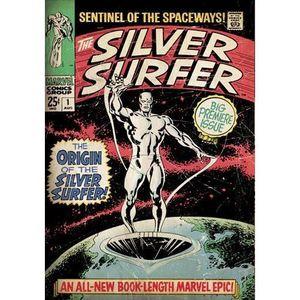 AFFICHE - POSTER Couverture Comics Marvel en Métal Brossé Surfer d'