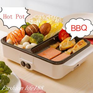 POÊLE ÉLÉCTRIQUE 1200W 2 en 1 Poêle Électrique Hot Pot BBQ Friture