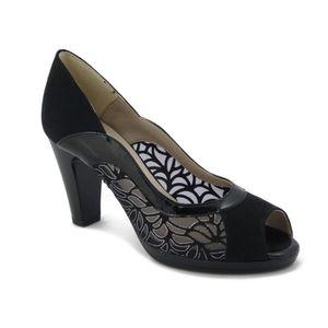 CINZIA SOFT, élégant sandale en suédine noir, talon 9cm. Et Plateau, 122329